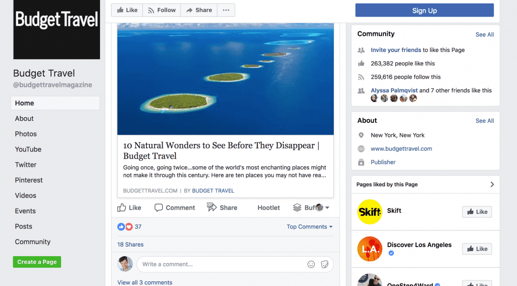 facebook page case study