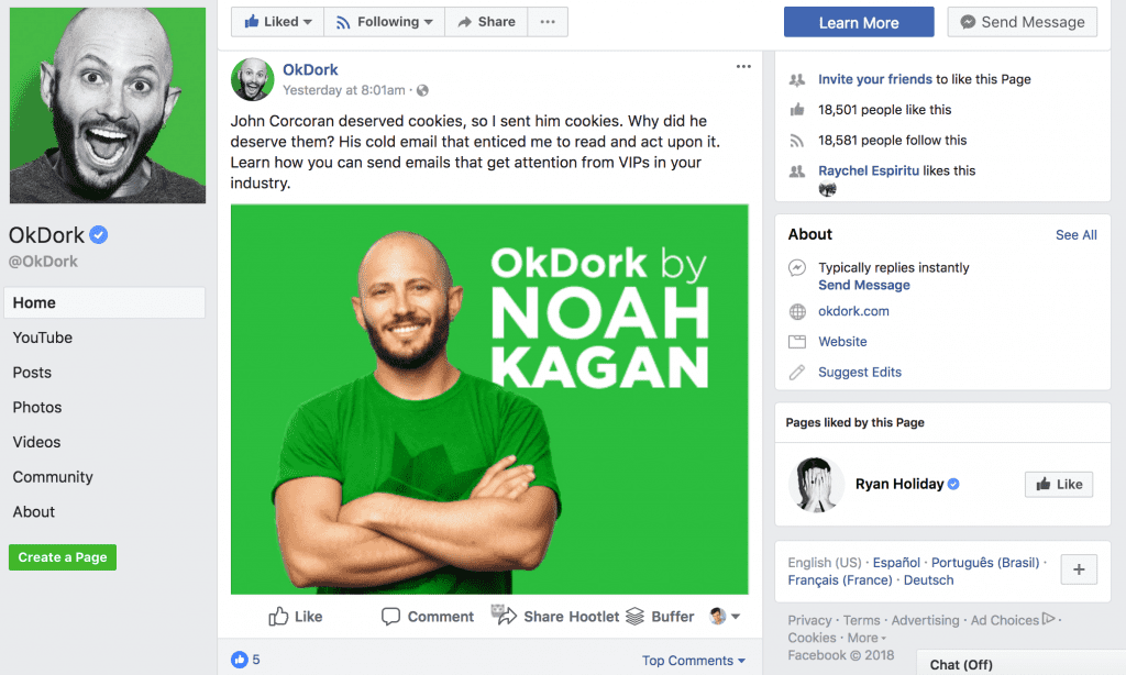 OkDork Noah Kagan Facebook Engagement